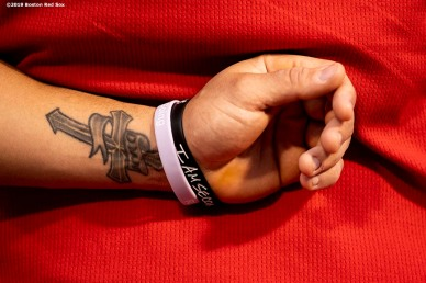 BOSTON, MA - AUGUST 17: The tattoo of Michael Chavis #23 of the Boston Red Sox is shown before a game against the Baltimore Orioles on August 17, 2019 at Fenway Park in Boston, Massachusetts. (Photo by Billie Weiss/Boston Red Sox/Getty Images) *** Local Caption *** Michael Chavis