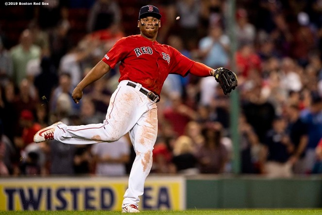 BOSTON, MA - AUGUST 17: Rafael Devers #11 of the Boston Red Sox celebrates a victory against the Baltimore Orioles on August 17, 2019 at Fenway Park in Boston, Massachusetts. (Photo by Billie Weiss/Boston Red Sox/Getty Images) *** Local Caption *** Rafael Devers