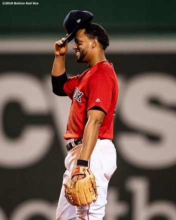 BOSTON, MA - AUGUST 17: Xander Bogaerts #2 of the Boston Red Sox celebrates a victory against the Baltimore Orioles on August 17, 2019 at Fenway Park in Boston, Massachusetts. (Photo by Billie Weiss/Boston Red Sox/Getty Images) *** Local Caption *** Xander Bogaerts