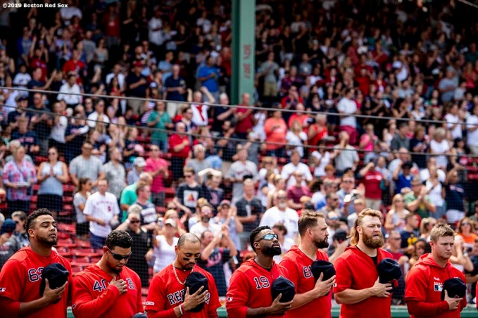 BOSTON, MA - AUGUST 18: Members of the Boston Red Sox look on before a game against the Baltimore Orioles on August 18, 2019 at Fenway Park in Boston, Massachusetts. (Photo by Billie Weiss/Boston Red Sox/Getty Images) *** Local Caption ***
