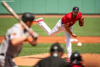 BOSTON, MA - AUGUST 18: Nathan Eovaldi #17 of the Boston Red Sox delivers during the first inning of a game against the Baltimore Orioles on August 18, 2019 at Fenway Park in Boston, Massachusetts. (Photo by Billie Weiss/Boston Red Sox/Getty Images) *** Local Caption *** Nathan Eovaldi