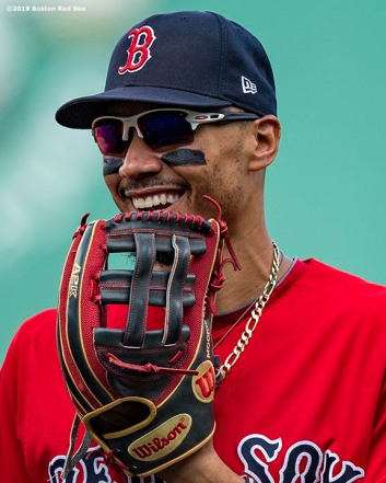 BOSTON, MA - AUGUST 18: Mookie Betts #50 of the Boston Red Sox reacts during the sixth inning of a game against the Baltimore Orioles on August 18, 2019 at Fenway Park in Boston, Massachusetts. (Photo by Billie Weiss/Boston Red Sox/Getty Images) *** Local Caption *** Mookie Betts