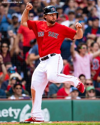 BOSTON, MA - AUGUST 18: Sam Travis #59 of the Boston Red Sox reacts as he scores during the sixth inning of a game against the Baltimore Orioles on August 18, 2019 at Fenway Park in Boston, Massachusetts. (Photo by Billie Weiss/Boston Red Sox/Getty Images) *** Local Caption *** Sam Travis