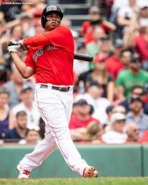 BOSTON, MA - AUGUST 18: Rafael Devers #11 of the Boston Red Sox hits a two run home run to record his 100th and 101st RBI of the season during the seventh inning of a game against the Baltimore Orioles on August 18, 2019 at Fenway Park in Boston, Massachusetts. (Photo by Billie Weiss/Boston Red Sox/Getty Images) *** Local Caption *** Rafael Devers