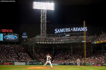 BOSTON, MA - AUGUST 20: Aaron Nola #27 of the Philadelphia Phillies delivers during the fifth inning of a game against the Boston Red Sox on August 20, 2019 at Fenway Park in Boston, Massachusetts. (Photo by Billie Weiss/Boston Red Sox/Getty Images) *** Local Caption *** Aaron Nola