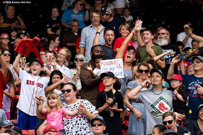 BOSTON, MA - AUGUST 22: Fans cheer before the continuation of a game between the Boston Red Sox and the Kansas City Royals on August 22, 2019 at Fenway Park in Boston, Massachusetts. The game is the completion of the game that was suspended due to weather on August 7 in the top of the 10th inning with a tied score of 4-4. (Photo by Billie Weiss/Boston Red Sox/Getty Images) *** Local Caption ***