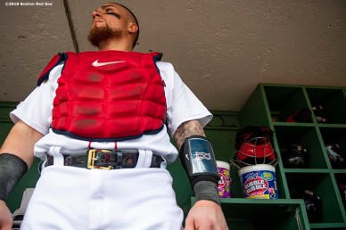 BOSTON, MA - AUGUST 22: Christian Vazquez #7 of the Boston Red Sox looks on before a game against the Kansas City Royals on August 22, 2019 at Fenway Park in Boston, Massachusetts. The game is the completion of the game that was suspended due to weather on August 7 in the top of the 10th inning with a tied score of 4-4. (Photo by Billie Weiss/Boston Red Sox/Getty Images) *** Local Caption *** Christian Vazquez