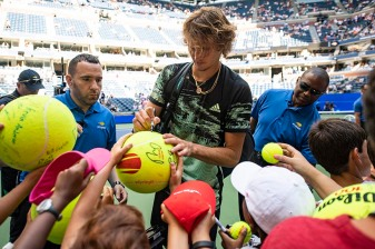 August 29, 2019, New York City, NY: Alexander Zverev signs autographs after a victory in a match against Frances Tiafoe during the 2019 US Open Tennis Championships at the Billie Jean King National Tennis Center in New York, New York Thursday, August 29, 2019. (Photo by Billie Weiss/US Open Tennis Championships)