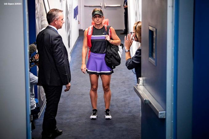 August 29, 2019, New York City, NY: Simona Halep waits in the tunnel before being introduced before a match against Taylor Townsend during the 2019 US Open Tennis Championships at the Billie Jean King National Tennis Center in New York, New York Thursday, August 29, 2019. (Photo by Billie Weiss/US Open Tennis Championships)