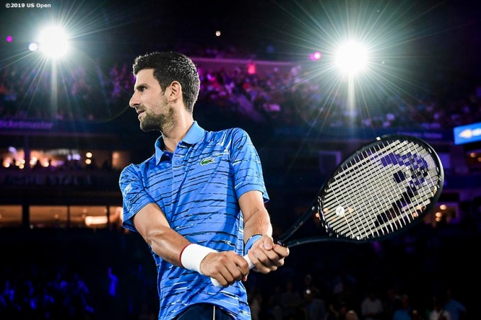 August 30, 2019, New York City, NY: Novak Djokovic s introduced as he walks on court before a match against Denis Kudla during the 2019 US Open Tennis Championships at the Billie Jean King National Tennis Center in New York, New York Friday, August 30, 2019. (Photo by Billie Weiss/US Open Tennis Championships)
