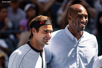 August 30, 2019, New York City, NY: Roger Federer poses with Kobe Bryant during the coin toss before a match against Dan Evans during the 2019 US Open Tennis Championships at the Billie Jean King National Tennis Center in New York, New York Friday, August 30, 2019. (Photo by Billie Weiss/US Open Tennis Championships)