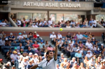August 30, 2019, New York City, NY: Roger Federer in action during a match against Dan Evans during the 2019 US Open Tennis Championships at the Billie Jean King National Tennis Center in New York, New York Friday, August 30, 2019. (Photo by Billie Weiss/US Open Tennis Championships)
