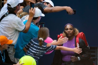 August 30, 2019, New York City, NY: Serena Williams exits the tunnel as she is introduced before a match against Karolina Muchova during the 2019 US Open Tennis Championships at the Billie Jean King National Tennis Center in New York, New York Friday, August 30, 2019. (Photo by Billie Weiss/US Open Tennis Championships)
