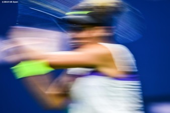 August 30, 2019, New York City, NY: Madison Keys in action during a match against Sofia Kenin during the 2019 US Open Tennis Championships at the Billie Jean King National Tennis Center in New York, New York Friday, August 30, 2019. (Photo by Billie Weiss/US Open Tennis Championships)