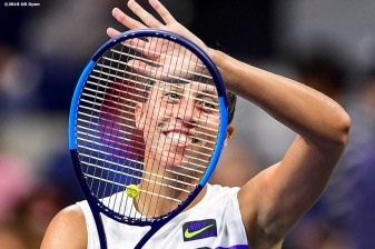 August 30, 2019, New York City, NY: Madison Keys reacts after defeating Sofia Kenin during the 2019 US Open Tennis Championships at the Billie Jean King National Tennis Center in New York, New York Friday, August 30, 2019. (Photo by Billie Weiss/US Open Tennis Championships)