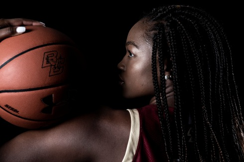 """Members of the 2019 Boston College Women's Basketball team pose for portraits on black at Boston College in Chestnut Hill, Massachusetts."""