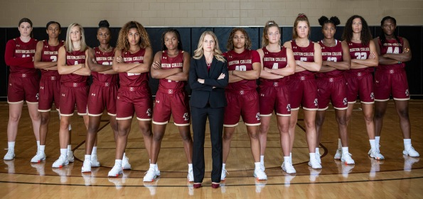 """Members of the 2019 Boston College Women's Basketball team and staff pose for a team photograph at Boston College in Chestnut Hill, Massachusetts."""