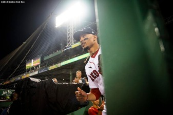 BOSTON, MA - SEPTEMBER 4: Mookie Betts #50 of the Boston Red Sox exits the dugout before a game against the Minnesota Twins on September 4, 2019 at Fenway Park in Boston, Massachusetts. (Photo by Billie Weiss/Boston Red Sox/Getty Images) *** Local Caption *** Mookie Betts