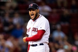 BOSTON, MA - SEPTEMBER 4: Eduardo Rodriguez #57 of the Boston Red Sox reacts during the seventh inning of a game against the Minnesota Twins on September 4, 2019 at Fenway Park in Boston, Massachusetts. (Photo by Billie Weiss/Boston Red Sox/Getty Images) *** Local Caption *** Eduardo Rodriguez
