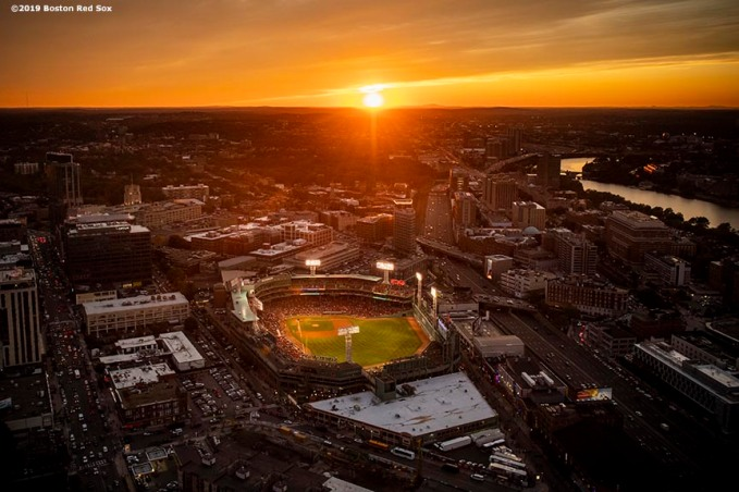 BOSTON, MA - SEPTEMBER 5: An aerial view of Fenway Park at sunset during a game between the Boston Red Sox and the Minnesota Twins on September 5, 2019 at Fenway Park in Boston, Massachusetts. (Photo by Billie Weiss/Boston Red Sox/Getty Images) *** Local Caption ***