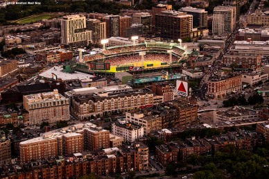 BOSTON, MA - SEPTEMBER 5: An aerial view of Fenway Park during a game between the Boston Red Sox and the Minnesota Twins on September 5, 2019 at Fenway Park in Boston, Massachusetts. (Photo by Billie Weiss/Boston Red Sox/Getty Images) *** Local Caption ***