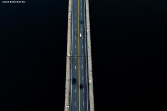 BOSTON, MA - SEPTEMBER 5: An aerial view of the Massachusetts Avenue bridge during a game between the Boston Red Sox and the Minnesota Twins on September 5, 2019 at Fenway Park in Boston, Massachusetts. (Photo by Billie Weiss/Boston Red Sox/Getty Images) *** Local Caption ***