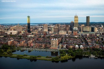 BOSTON, MA - SEPTEMBER 5: An aerial view of the downtown Boston city skyline during a game between the Boston Red Sox and the Minnesota Twins on September 5, 2019 at Fenway Park in Boston, Massachusetts. (Photo by Billie Weiss/Boston Red Sox/Getty Images) *** Local Caption ***