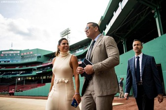 BOSTON, MA - SEPTEMBER 8: ESPN Sunday Night Baseball color commentators Jessica Mendoza, Alex Rodriguez, and Matt Vasgersian walk toward the Green Monster before a game between the Boston Red Sox and the New York Yankees on September 8, 2019 at Fenway Park in Boston, Massachusetts. (Photo by Billie Weiss/Boston Red Sox/Getty Images) *** Local Caption *** Jessica Mendoza; Alex Rodriguez; Matt Vasgersian