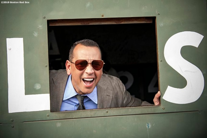 BOSTON, MA - SEPTEMBER 8: ESPN Sunday Night Baseball color commentator Alex Rodriguez poses from inside the Green Monster before a game between the Boston Red Sox and the New York Yankees on September 8, 2019 at Fenway Park in Boston, Massachusetts. (Photo by Billie Weiss/Boston Red Sox/Getty Images) *** Local Caption *** Alex Rodriguez