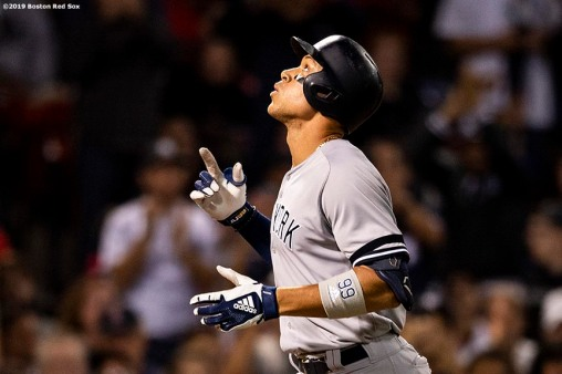 BOSTON, MA - SEPTEMBER 8: Aaron Judge #99 of the New York Yankees reacts after hitting a solo home run during the fifth inning of a game against the Boston Red Sox on September 8, 2019 at Fenway Park in Boston, Massachusetts. (Photo by Billie Weiss/Boston Red Sox/Getty Images) *** Local Caption *** Aaron Judge