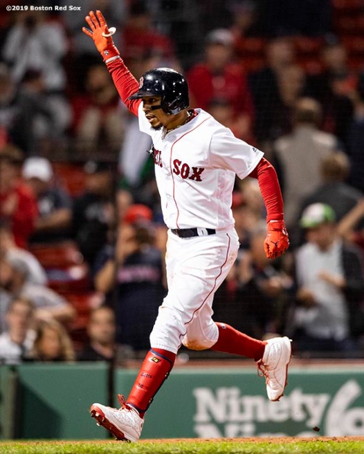 BOSTON, MA - SEPTEMBER 8: Mookie Betts #50 of the Boston Red Sox reacts after hitting a solo home run during the eighth inning of a game against the New York Yankees on September 8, 2019 at Fenway Park in Boston, Massachusetts. (Photo by Billie Weiss/Boston Red Sox/Getty Images) *** Local Caption *** Mookie Betts