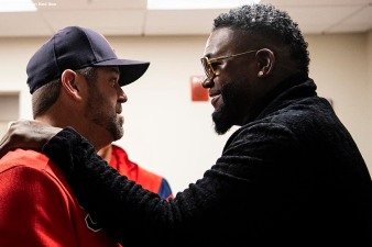 BOSTON, MA - SEPTEMBER 9: Former designated hitter David Ortiz #34 of the Boston Red Sox greets former Boston Red Sox catcher Jason Varitek before throwing out a ceremonial first pitch as he returns to Fenway Park before a game against the New York Yankees on September 9, 2019 at Fenway Park in Boston, Massachusetts. (Photo by Billie Weiss/Boston Red Sox/Getty Images) *** Local Caption *** David Ortiz; Jason Varitek