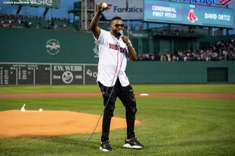 BOSTON, MA - SEPTEMBER 9: Former designated hitter David Ortiz #34 of the Boston Red Sox addresses the crowd after throwing out a ceremonial first pitch as he returns to Fenway Park before a game against the New York Yankees on September 9, 2019 at Fenway Park in Boston, Massachusetts. (Photo by Billie Weiss/Boston Red Sox/Getty Images) *** Local Caption *** David Ortiz
