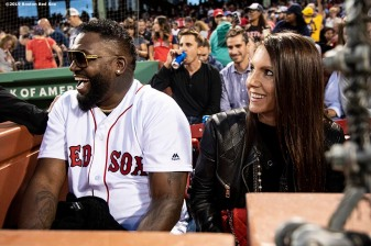 BOSTON, MA - SEPTEMBER 9: Former designated hitter David Ortiz #34 of the Boston Red Sox reacts with his wife Tiffany Ortiz after throwing out a ceremonial first pitch as he returns to Fenway Park before a game against the New York Yankees on September 9, 2019 at Fenway Park in Boston, Massachusetts. (Photo by Billie Weiss/Boston Red Sox/Getty Images) *** Local Caption *** David Ortiz; Tiffany Ortiz
