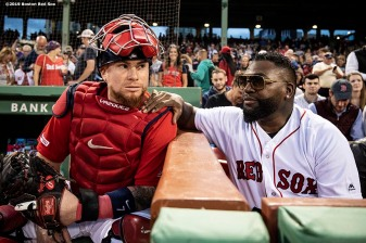 BOSTON, MA - SEPTEMBER 9: Former designated hitter David Ortiz #34 of the Boston Red Sox talks with Christian Vazquez #7 of the Boston Red Sox after throwing out a ceremonial first pitch as he returns to Fenway Park before a game against the New York Yankees on September 9, 2019 at Fenway Park in Boston, Massachusetts. (Photo by Billie Weiss/Boston Red Sox/Getty Images) *** Local Caption *** David Ortiz; Christian Vazquez