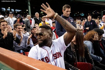 BOSTON, MA - SEPTEMBER 9: Former designated hitter David Ortiz #34 of the Boston Red Sox reacts after throwing out a ceremonial first pitch as he returns to Fenway Park before a game against the New York Yankees on September 9, 2019 at Fenway Park in Boston, Massachusetts. (Photo by Billie Weiss/Boston Red Sox/Getty Images) *** Local Caption *** David Ortiz