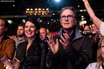 September 13, 2019 , Boston, MA: Ed Kane, Linda Pizzuti Henry, and John Henry watch a concert by The Who at Fenway Park in Boston, Massachusetts Friday, September 13, 2019. (Photo by Billie Weiss/Boston Red Sox)