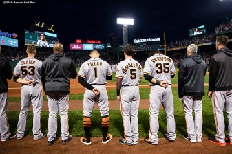 BOSTON, MA - SEPTEMBER 17: Mike Yastrzemski #5 of the San Francisco Giants looks on as the National Anthem is played before a game against the Boston Red Sox on September 17, 2019 at Fenway Park in Boston, Massachusetts. (Photo by Billie Weiss/Boston Red Sox/Getty Images) *** Local Caption *** Mike Yastrzemski