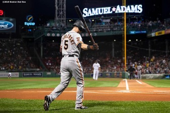 BOSTON, MA - SEPTEMBER 17: Mike Yastrzemski #5 of the San Francisco Giants walks toward the plate during the first inning of a game against the Boston Red Sox on September 17, 2019 at Fenway Park in Boston, Massachusetts. (Photo by Billie Weiss/Boston Red Sox/Getty Images) *** Local Caption *** Mike Yastrzemski