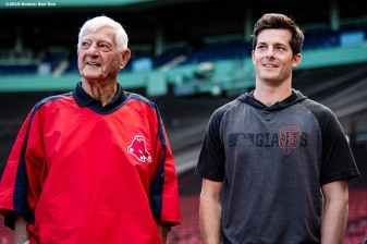 BOSTON, MA - SEPTEMBER 17: Former Boston Red Sox left fielder Carl Yastrzemski looks on with his grandson Mike Yastrzemski #5 of the San Francisco Giants during the filming of an MLB Network segment on September 17, 2019 at Fenway Park in Boston, Massachusetts. (Photo by Billie Weiss/Boston Red Sox/Getty Images) *** Local Caption *** Mike Yastrzemski; Carl Yastrzemski