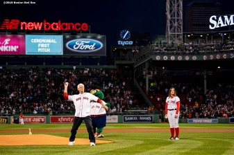 BOSTON, MA - SEPTEMBER 18: Former left fielder Carl Yastrzemski of the Boston Red Sox throws out a ceremonial first pitch to his grandson Mike Yastrzemski #5 of the San Francisco Giants before a game on September 18, 2019 at Fenway Park in Boston, Massachusetts. (Photo by Billie Weiss/Boston Red Sox/Getty Images) *** Local Caption *** Carl Yastrzemski; Mike Yastrzemski