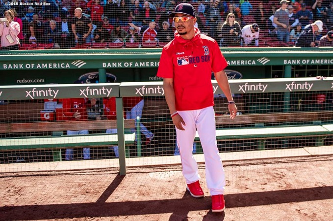 BOSTON, MA - SEPTEMBER 19: Mookie Betts #50 of the Boston Red Sox looks on before a game against the San Francisco Giants on September 19, 2019 at Fenway Park in Boston, Massachusetts. (Photo by Billie Weiss/Boston Red Sox/Getty Images) *** Local Caption *** Mookie Betts