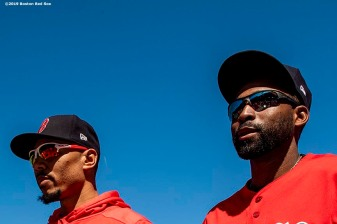 BOSTON, MA - SEPTEMBER 19: Mookie Betts #50 and Jackie Bradley Jr. #19 of the Boston Red Sox look on before a game against the San Francisco Giants on September 19, 2019 at Fenway Park in Boston, Massachusetts. (Photo by Billie Weiss/Boston Red Sox/Getty Images) *** Local Caption *** Mookie Betts; Jackie Bradley Jr.
