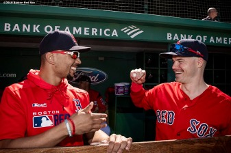 BOSTON, MA - SEPTEMBER 19: Mookie Betts #50 reacts with Brock Holt #12 of the Boston Red Sox before a game against the San Francisco Giants on September 19, 2019 at Fenway Park in Boston, Massachusetts. (Photo by Billie Weiss/Boston Red Sox/Getty Images) *** Local Caption *** Mookie Betts; Brock Holt