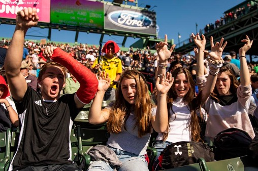 BOSTON, MA - SEPTEMBER 19: Fans cheer during a game between the Boston Red Sox and the San Francisco Giants on September 19, 2019 at Fenway Park in Boston, Massachusetts. (Photo by Billie Weiss/Boston Red Sox/Getty Images) *** Local Caption ***