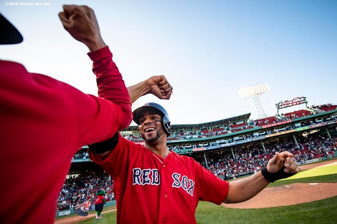 BOSTON, MA - SEPTEMBER 19: Xander Bogaerts #2 of the Boston Red Sox celebrates a victory against the San Francisco Giants on September 19, 2019 at Fenway Park in Boston, Massachusetts. (Photo by Billie Weiss/Boston Red Sox/Getty Images) *** Local Caption *** Xander Bogaerts