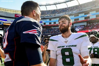 FOXBOROUGH, MA - SEPTEMBER 22: Tom Brady #12 of the New England Patriots shakes hands with Luke Falk #8 of the New York Jets after a game at Gillette Stadium on September 22, 2019 in Foxborough, Massachusetts. (Photo by Billie Weiss/Getty Images) *** Local Caption *** Tom Brady; Luke Falk