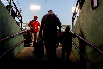 BOSTON, MA - SEPTEMBER 27: Fans enter the stadium before a game between the Boston Red Sox and the Baltimore Orioles on September 27, 2019 at Fenway Park in Boston, Massachusetts. (Photo by Billie Weiss/Boston Red Sox/Getty Images) *** Local Caption ***