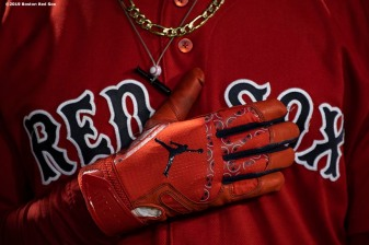 BOSTON, MA - SEPTEMBER 27: Mookie Betts #50 of the Boston Red Sox holds his hand across his chests before a game against the Baltimore Orioles on September 27, 2019 at Fenway Park in Boston, Massachusetts. (Photo by Billie Weiss/Boston Red Sox/Getty Images) *** Local Caption *** Mookie Betts