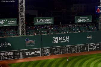 BOSTON, MA - SEPTEMBER 27: The Green Monster is shown during a game between the Boston Red Sox and the Baltimore Orioles on September 27, 2019 at Fenway Park in Boston, Massachusetts. (Photo by Billie Weiss/Boston Red Sox/Getty Images) *** Local Caption ***